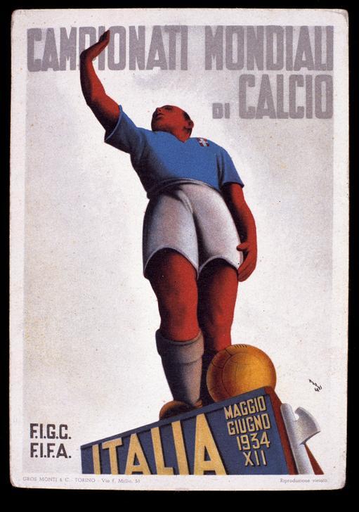 Postkarte der Fußball-WM in Italien 1934; akg-images / Andrea Jemolo
